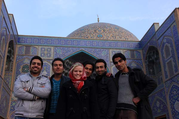 Peta with her boys in Esfahan